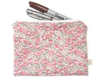 Zipper pouch pink flowers pencil case