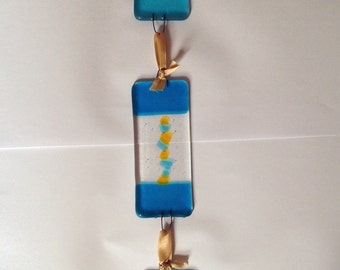 Fused Glass wall hanging, 3 turquoise segments