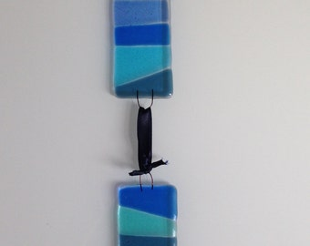Fused Glass wall hanging, 2 blue segments