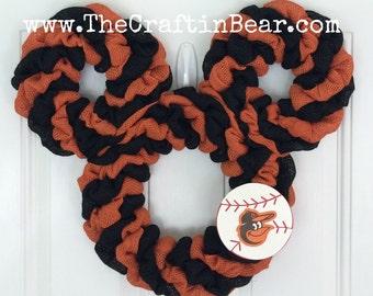 Baltimore Orioles Mickey Mouse wreath - Burlap wreath - Mickey mouse wreath - Baltimore Orioles wreath - Orioles wreath - Baltimore