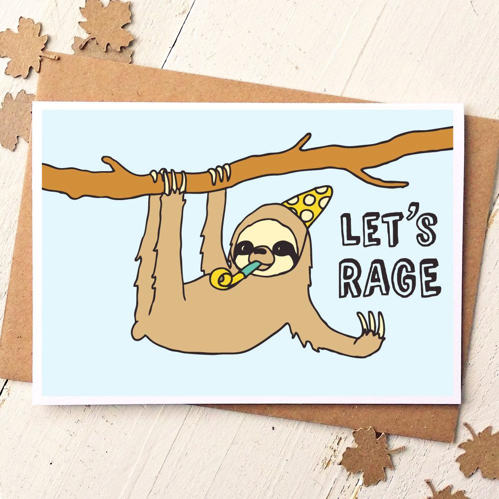 Funny Friend Card Sloth Card Funny Birthday Card – Birthday Cards Humour
