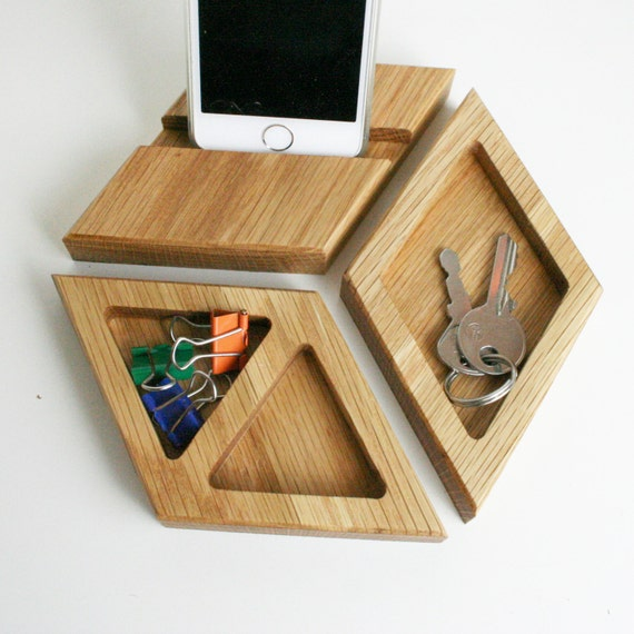 Chunky natural oak desk tidy hexagon office
