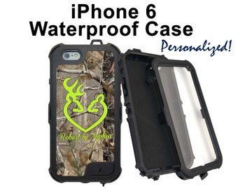 Waterproof iPhone 6, 6 Plus Personalized iPhone Realtree Camo Browning Camouflage Monogrammed Phone Case Water Resistant Heavy Duty #2581