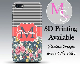 Monogram iPhone 5 Case, Personalized Phone Case, Floral Striped iPhone Monogrammed iPhone 4, 4S Iphone 5, 5S, 5C, iPhone 6, 6 Plus #2208