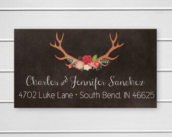 Deer Antler Return Address Labels, Christmas Address Labels, Return Address Stickers (#510)