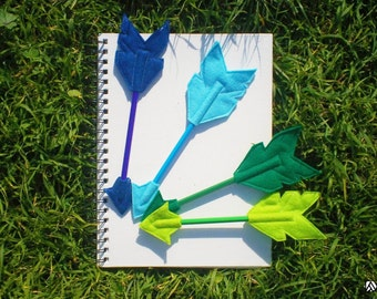 Set of Four Felt Blue and Green Arrow Pencil Toppers, Vegan