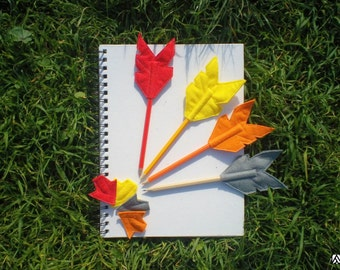 Set of Four Felt Red and Yellow Arrow Pencil Toppers, Vegan