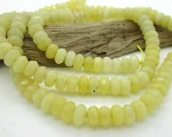 Yellow Jade Faceted Rondelle Bead, 8x5mm (36)