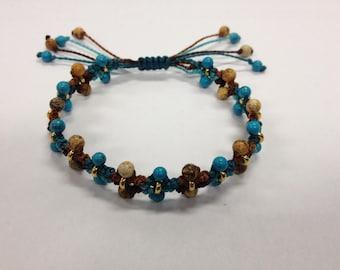 Boho macrame friendship bracelet turquoise and gold