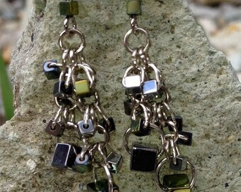Olive and Silver Metallic Chandelier Earrings