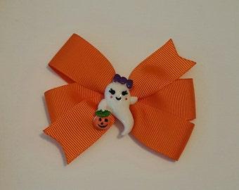 Halloween Hairbow ~ Orange Ghost Halloween Hair Bow