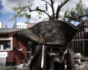 Leather captain jack tricorn hat.