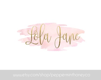 LOLA JANE LOGO Pink Gold Foil Girly Watercolour Watercolor Feminine Branding Photography Business Blog Boutique Brand
