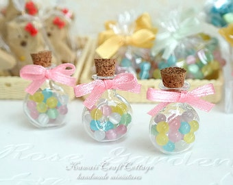 Miniature Food Candy Sweets Glass Bottle Candies Sweet Gummy Gumball Cookies, Kawaii Cute Fake doll food, Barbie Blythe BJD AGD, 1/6, 1:4