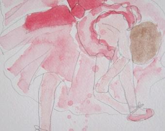 Ballerina, Tying Her Shoes, watercolour original, Degas, nursery painting, birthday gift, Xmas gift, goddaughter gift, daughter gift