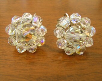 Vintage Coro Earrings, Vintage Coro 1950s Earrings, Coro AB Crystal Earrings, Vintage 50s Clip on Earrings, Coro Earrings, Vintage Coro