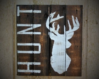 Hunting Signs Rustic Wall Decor Distressed Wood Reclaimed Buck Decor Deer Sign Cabin Lodge Home Decor Farmhouse man cave gift hunt sign deer