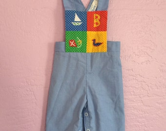 Vintage Blue Patchwork Overalls. 70's Baby Boy Overalls. Blue Cotton Overalls. Vintage Baby Overalls. Size Approx 3 months
