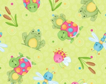 45'' Henry Glass & Co. Cuddle Bug Green Frogs/Turtles Flannel by the Yard 6697-66