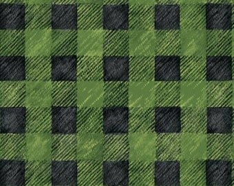 45'' Red Rooster Fabrics Lodge Life Green Buffalo Plaid Flannel by the Yard