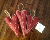 3 new handmade primitive barn red decorative felt heart tree ornaments, Valentine decorations