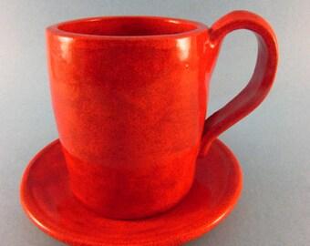 Burnt Orange Mug & Saucer