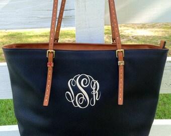 Monogram Purse Bag Tote, Monogrammed Purse,  Black Vegan Leather Purse, All Time Favorite