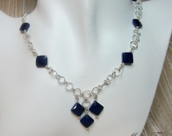 Diamond shape faceted Lapis Lazuli neckalce RESERVED