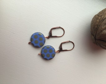 Natural stone dotted earrings