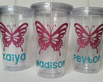 Personalized Tumbler with Straw - Butterfly - Glitter