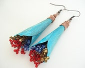 Unique Handmade Copper Earrings-Copper Blue Turquoise Patina Bouquets Earrings-Long Dangle Earrings-Contemporary Boho Earrings