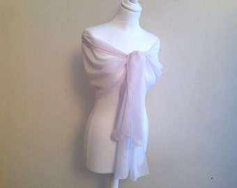 Chiffon stole white wedding bridal evening baptism ceremony 50/200 cm, noel stole, stole feast...