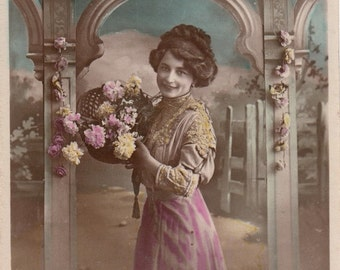 Vintage French Romantic Woman postcard .  Old Postcard . Antique Photo .