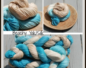 Beachy Yak/ Silk Sport Weight Yarn Hand dyed
