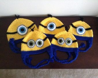 Crochet Minion Hat with Ear Flaps newborn toddler child teen adult photography photo prop made to order despicable me halloween costume Gift