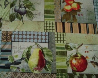 Bird & Pear Cotton Fabric Sold by the Yard