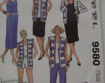 VINTAGE McCall's Pattern M9580 Misses' Jacket or Vest, Dress or Top, Skirt and Pants or Shorts