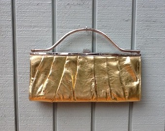 Gold Lamé, 50's Handbag,50's Gold Clutch / Purse