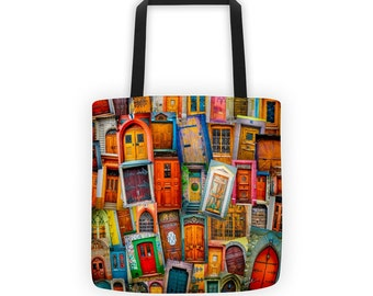 """Doors of the World 15"""" Tote Bag"""