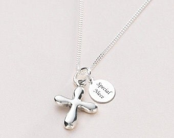 Silver Cross Necklace. Personalised Christening Gift for Girl. Also for Communion, Baptism etc