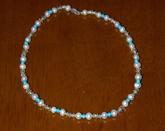 """17"""" Handmade Turquoise Bead and Freshwater Pearl Necklace"""