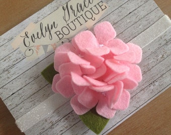 Baby Headband Felt Hydrangea Flower Headband Pink Flower Newborn Baby Headband Baby Girl Felt Headband Pink Felt Flower Headband Summer Bow