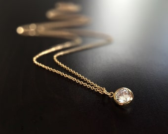 Small CZ Gold Necklace - Cubic Zirconia - Crystal - Minimal - Minimalist - Simple - 14k Gold Filled