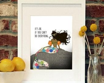 You are just  fine, sweet Mermaid (dark skin)-8x10 matted print