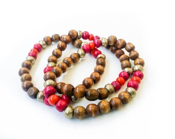 Deep Pink Wood Bead & Brass Bracelets|Elastic| Set of 3
