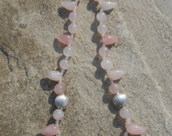 Rose Quartz and Silver bead Necklace
