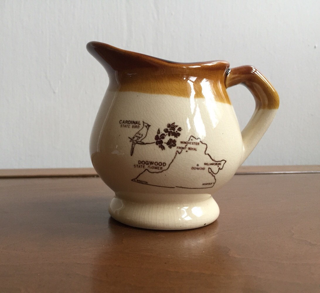 Vintage State Of Virginia Creamer Ceramic Brown Tan