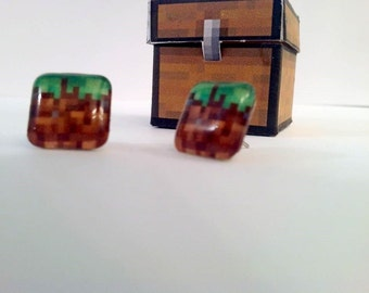 Minecraft Inspired grass block earrings