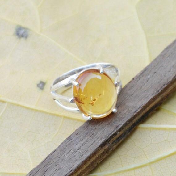 Citrine Ring, Silver Ring, November Birthstone Ring, Birthday Ring, Luck Energy Ring, Healing Ring, 925 Sterling Silver Bezel Ring Size 8