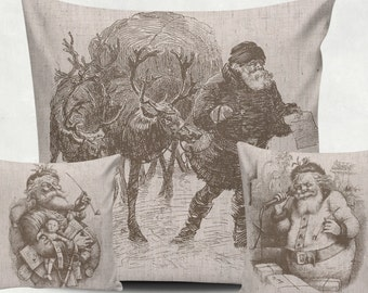 3 Digital Vintage Santa for Tea Towels, black and sepia, Papercrafts, Transfer, christmas clip art, burlap, Instant Download, poster, N44